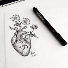 Coração florescendo Feito por @ninabogo - - #art #arte #artist #artista #creative #desenhar #desenho #draw #drawing #drawing2me #graphics #illustration #instagrambrasil #masterpiece #paper #pen #pencil #picture #posca #sketch #tattoodo #tattooersubmission