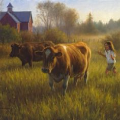 """Milking Time"" by Robert Duncan ...... This was me for many years growing up.  One of my chores was to gather the cows in for milking in the morning."