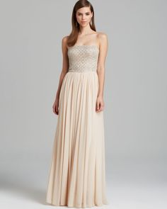 Love this: Gown Strapless Beaded Bodice with Pleated Chiffon Skirt @Lyst