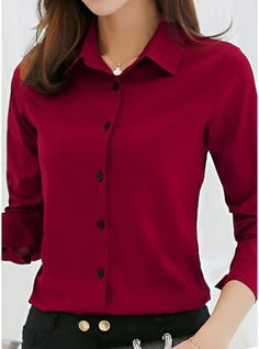 Solid Lapel Long Sleeves Button Up Casual Elegant Shirt Blouses - Blouses - veryvoga Dress Shirts For Women, Blouses For Women, Casual Fall Outfits, Casual Shirt, Classy Outfits, Red Button Up Shirt, Look Fashion, Fashion Outfits, Fancy Dress Design