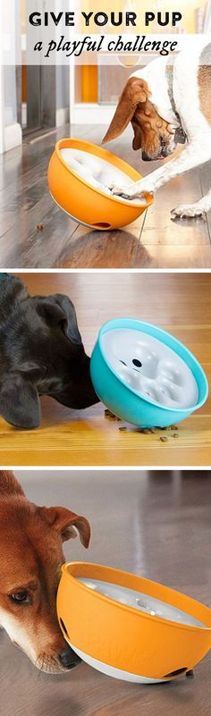 Rock 'N Bowl Dog Feeder Give your pup a playful challenge—and slow down mealtime. To release the food from this Made in the USA bowl, your dog needs to nudge and rock it.