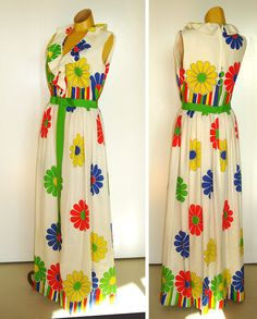 MOD Vintage Maxi Dress  Bright Floral  Ruffled by vintagedame, $48.00