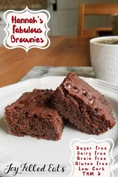 "Hannah's Fabulous Brownies - Low Carb, Sugar Free, Gluten Free, Dairy Free, THM S - These Low Carb Brownies are unbelievably delicious still hot from the oven & become fudgy when cooled. I hope you make & enjoy these almost ""real"" brownies!"