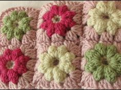 VERY EASY crochet mini puff stitch flower baby blanket tutorial - YouTube