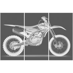 Yamaha Yz 450 F Dirt Bike Motorcycle Screen Print Wood Stain Painting... ($139) ❤ liked on Polyvore featuring home, home decor, wall art, grey, home & living, home décor, rectangular wall art, ink painting, bike home decor and birch home decor
