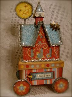Sweet! It's The Star Barn.  Altered Art Mixed Media Assemblage Original by marycharlesfolkart, $55.00
