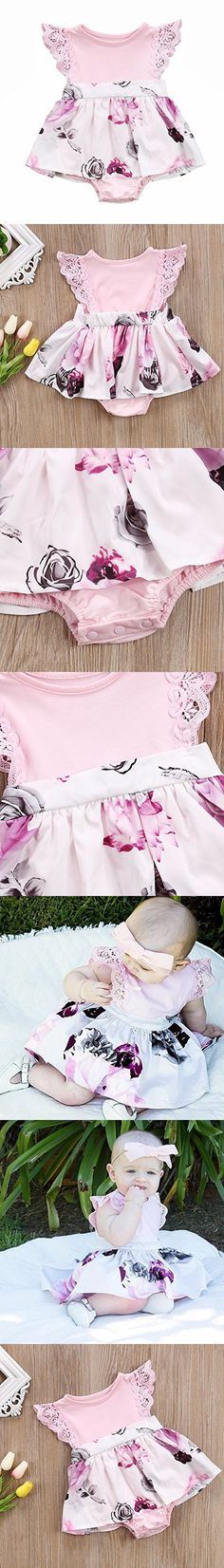 Big Sister Little Sister Floral Matching Clothing Lace Ruffle Sleeve Romper&Dress Outfit Family Clothing (0-6 Months, Romper (Little Sister))