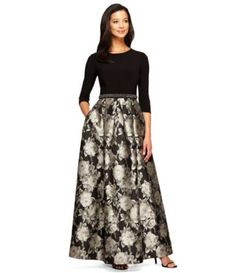 Alex Evenings 3/4 Sleeve Beaded Waist Floral Ballgown #Dillards
