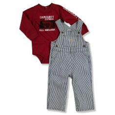 Carhartt Baby-boys Infant Washed Bib Overall Set Train, Blue, 12 Months Long sleeve bodyshirt with shoulder and crotch snaps. Adjustable strap shortall with bib pocket and leg snaps.