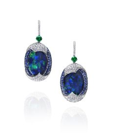 Black Opal, Emerald, Sapphire and White Diamond Earrings totaling 32.45 carats, handcrafted in platinum.