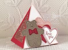 Valentine's Treat Box made with Stampin' Up! Pyramid Pals Thinlits Dies, Playful Pals & Bear Hugs Stamp sets & Blushing Bride Glimmer paper. Debbie Henderson,Debbie's Designs