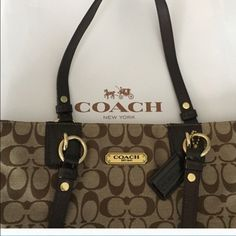 Coach  100% authentic coach tote bag Authentic gallery signature patent  leather canvas tote bag.   Large tote. Gently used Coach Bags Totes