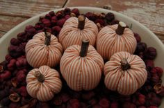 Primitive Fall Halloween Striped Pumpkin Ornies, Bowl Fillers by Pebblebrooklane via Etsy
