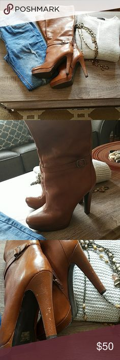 """Jessica Simpson Knee Boots Boots have slight signs of wear on the heels but still in great condition. Heel height is 4 1/2"""" Originally purchased for $119 - listing for less than half! Jessica Simpson Shoes Heeled Boots"""