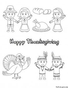 Printable happy Thanksgiving Day Coloring page - Printable Coloring Pages For Kids