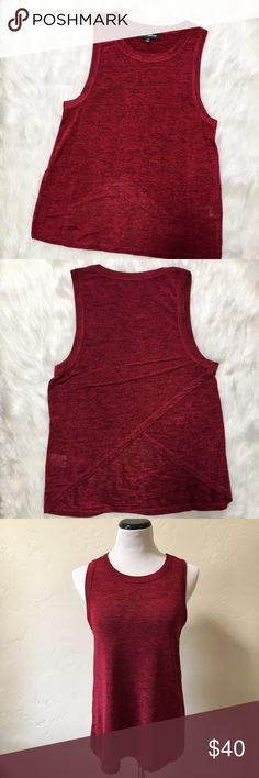 "Sam Edelman Sleeveless Envelope Top Red and black melange top. In excellent used condition. Laying flat, it measures approximately: 17.5"" bust, 25.75"" length. Sam Edelman Tops Tank Tops"