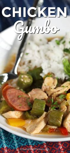 This Easy Chicken Gumbo Recipe Is Vibrant, Spicy And Simmered To Perfection This Delicious Combination Of Chicken, Sausage, Okra And Veggies Is Cooked In A Creamy Creole Spiced Broth That Is Just Pure Comfort Food. Cajun Recipes, Soup Recipes, Dinner Recipes, Healthy Recipes, Drink Recipes, Seafood Recipes, Okra Recipes, Healthy Soups, Chicken