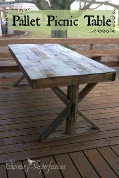DIY Pallet Picnic table (scheduled via http://www.tailwindapp.com?utm_source=pinterest&utm_medium=twpin&utm_content=post412087&utm_campaign=scheduler_attribution)