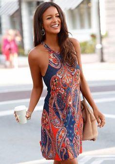 Buffalo London Strandkleid ab 39,99€. Kurzes Sommerkleid mit schmalen Trägern, Dekorativer Ausschnitt vorne, Flechtband zum individuellen Binden bei OTTO