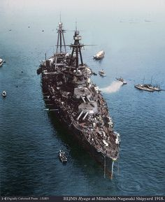 IJN Hyuga in her battleship configuration 日向