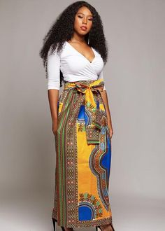 Show pride in your roots in our beautiful African print yellow and blue Dashiki maxi skirt. Shop D'IYANU today for this lovely skirt and more! African Dashiki, African Wear, African Attire, Printed Maxi Skirts, African Prints, Beautiful Ladies, Black Beauty, Yellow, Blue