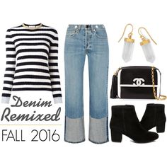 Denim Remixed - Fall 2016 by latoyacl on Polyvore featuring polyvore, fashion, style, Gucci, rag & bone, Steve Madden, Chanel, BillyTheTree and clothing