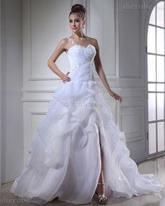 Spitze Kirche Halle Organza Bodenlanges Brautkleid mit Applike - Bild 1