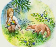 girl & friend fox - book illustration
