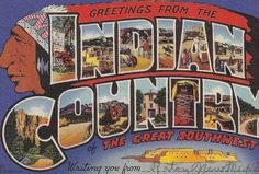 Indian Country Large Letter Greetings vintage postcard