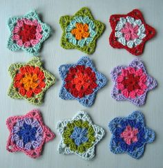 Granny Stars by Lucy of Attic 24 with link to tutorial from The Rowan Sisters Blog