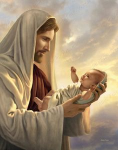 Christ with baby. In His Constant Care Pictures of Jesus with Children by Simon Dewey