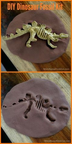 Dinosaur Crafts: DIY Fossil Kit and Dinosaur Party Favors. Sensory play that is lots of fun for young dino fans!
