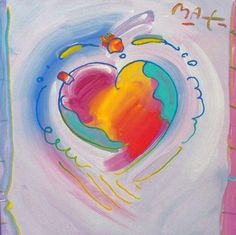 """Original Painting """"Around the World Heart"""" by Peter Max"""