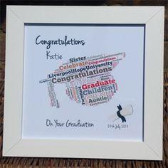 'Black Ribbon' Graduation Hat Word Art in a White Frame
