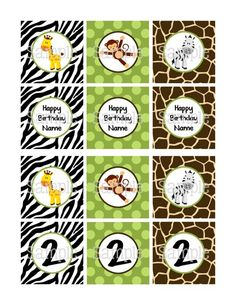 "Printable Jungle Safari for Boys 2.25"" Personalized Cupcake Toppers #printable #partydecoration #cupcaketoppers #cupcakewrappers #thankyoutags #waterbottlelabels #candybarwrappers #tickets #partyinvitation #birthdayparty #black #white #brown #green #birthday #safarianimals #jungle #zebra #giraffe #monkey #poshdots #boy #wild #DIY #youprint #partyprintables"