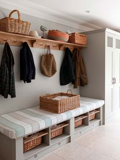 hallway storage or bootroom storage solution with comfy bench, coat hooks and storage cupboard custom built by mowlem & co .with these boot room ideas Boot Room Utility, Utility Room Ideas, Cupboard Storage, Boot Room Storage, Hallway Storage Bench, Storage Baskets, Hall Storage Ideas, Cloakroom Storage, Coat And Shoe Storage