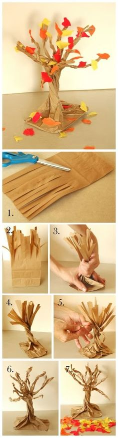 Paper Bag Fall Tree, a funny DIY, it so easy, try to do, you can get a surprise #DIY #Eozy