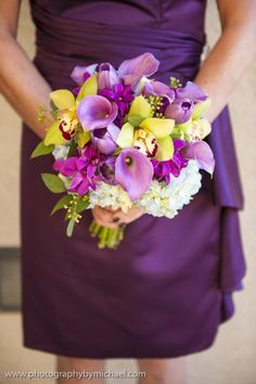 Orchids, calla lilies and hydrangeas create a colorful bridesmaid bouquet by Botanica #wedding #weddingflowers #Botanica