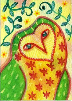 My Friend the Owl ACEO Original watercolour by Jessica Stride, £10.00