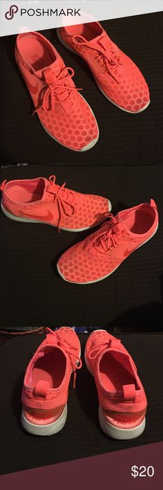 Coral Nike Juvente. Sz 8 Excellent condition. These are super comfy and a very trendy bright coral color. Perfect for working out or just wearing out! Nike Shoes Athletic Shoes