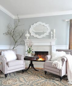 Tranquility, in Benjamin Moore's Affinity palette, sets off the white trim.