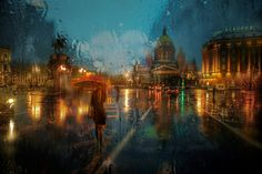 Just like these lovely rainy day photographs by French photographer Yodamanu, St. Petersburg-based photographer Eduard Gordeev captures gorgeous pictures of rain-soaked city scenes that resemble paintings. Cityscape Photography, Photography Words, Street Photography, Rainy Day Wallpaper, Rainy Mood, Rainy Days, Rainy City, Autumn Rain, Under The Rain