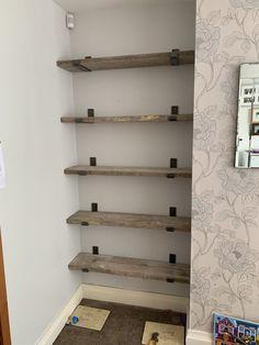 Scaffold board shelving in alcove – attic Alcove Storage, Alcove Shelving, Alcove Ideas Living Room, Living Room Shelves, Scaffold Shelving, Industrial Shelves, Pipe Shelving, Sage Living Room, Home And Living