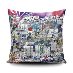 Sheffield Skyline cushion in a soft Vegan Suede finish. An abstract illustration encapsulating Sheffield's architecture, music scene, history, art, sports and more. Set on a vibrant multicoloured ink backdrop. Mexican Pillows, White Pillow Covers, Floral Pillows, Newcastle, Gift For Lover, Bridesmaid Gifts, Embroidery Patterns, House Warming, Cushions