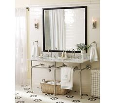 one mirror, two simple sinks=works for the beach cottage feel!