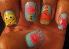 Spongebob Cartoon Nails - Acrylic Paint nail art