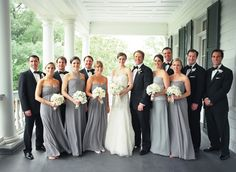 bridal party in gray + black + blush flowers+ (maybe) blush bowties