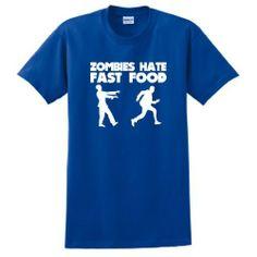 Zombies Hate Fast Food Short Sleeve T-Shirt Apocalypse Response Team Rescue Defense Dead Undead Walking Human Humans Versus VS Zombies Funny Halloween Costume Short Sleeve Tee XI. $18.57