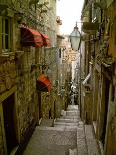 Beautiful narrow street in Dubrovnik...been there.