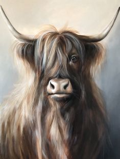 Highland Cow Painting, Highland Cow Art, Scottish Highland Cow, Highland Cattle, Cow Paintings On Canvas, Animal Paintings, Animal Drawings, Acrylic Painting Animals, Cute Cows